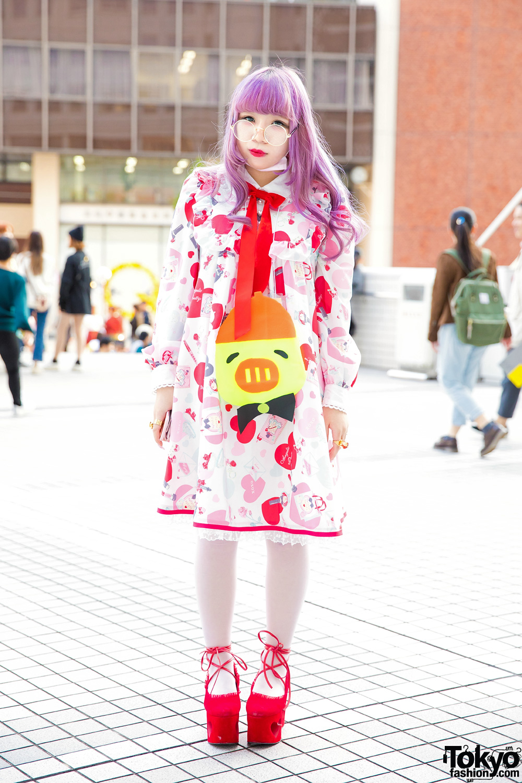 Busana Cerah Motif Hati Dalam Harajuku Fashion