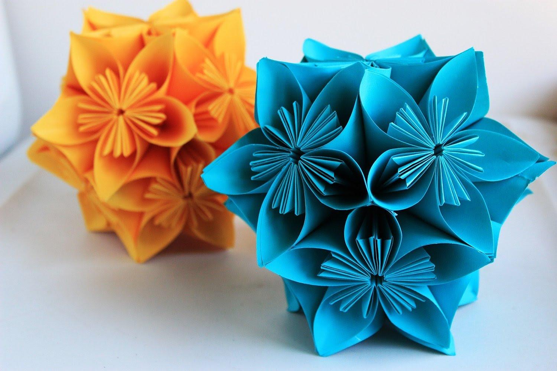 Panduan Melipat Origami Bola Bunga Kusudama