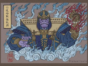 Ilustrasi Keren Yang Menggabungkan Seni Ukiyo-e Dengan Pahlawan Super Marvel
